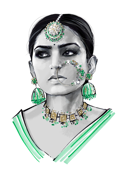 Indian woman portrait illustration
