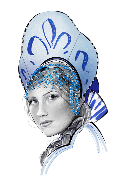 Russian woman portrait illustration