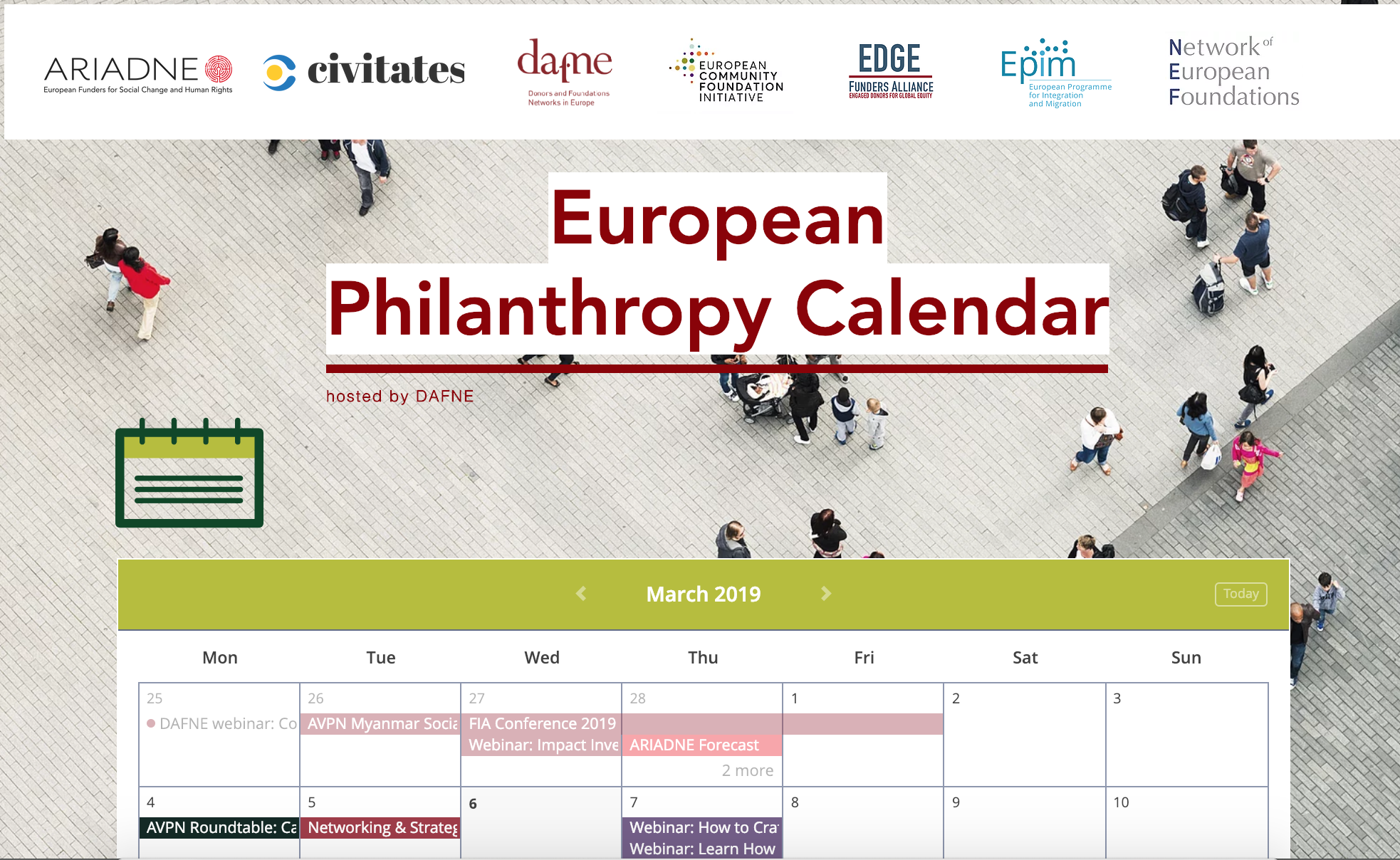 - DAFNEs kalender foreuropeiske arrangementer og konferanser for stiftelser