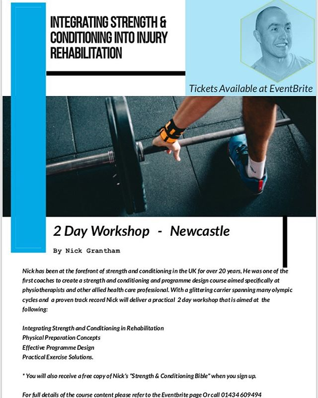 """2 day CPD course. Nick Grantham is hosting """" ingratiating strength and conditioning into injury rehabilitation"""" #physiotherapy #cpd #strengthtraining #chiropractor #personaltrainer #osteopath  https://www.eventbrite.co.uk/e/integrating-strength-and-conditioning-into-injury-rehabilitation-tickets-61096022849?aff=ebdshpsearchautocomplete"""