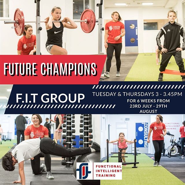 F.I.T Group is no longer just for adults! ⠀ For 6 weeks over the summer holidays we are running group classes for 10-16 year olds every Tuesday and Thursday at 3-3.45pm. ⠀ 🔴 Learn fundamental movements including jumping, landing and sprinting ⠀ 🔵 Improve fitness through circuits, challenges and games⠀ 🔴 Keep the kids occupied through the holidays ⠀ 🔵 Optimise physical development ⠀ 🗓 Starting Tuesday 23rd July to Thursday 29th August 3-3.45pm ⠀ 💷 £6 per session or bulk buy 6 sessions for £30 or £60 for 12 (£5 per session for current clients)  #kidscamps #juniorfitness #summerholiday #futurechampions #northeastgyms #athleticdevelopment