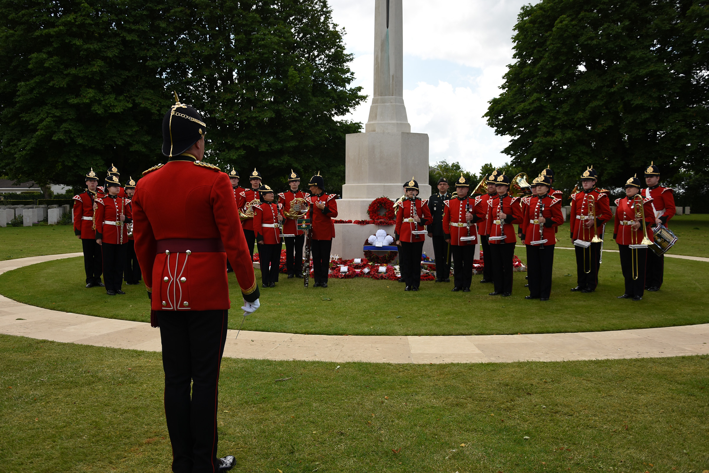 The Band of The Yorkshire Regiment , at the Act of Remembrance at Bayeux War Cemetery