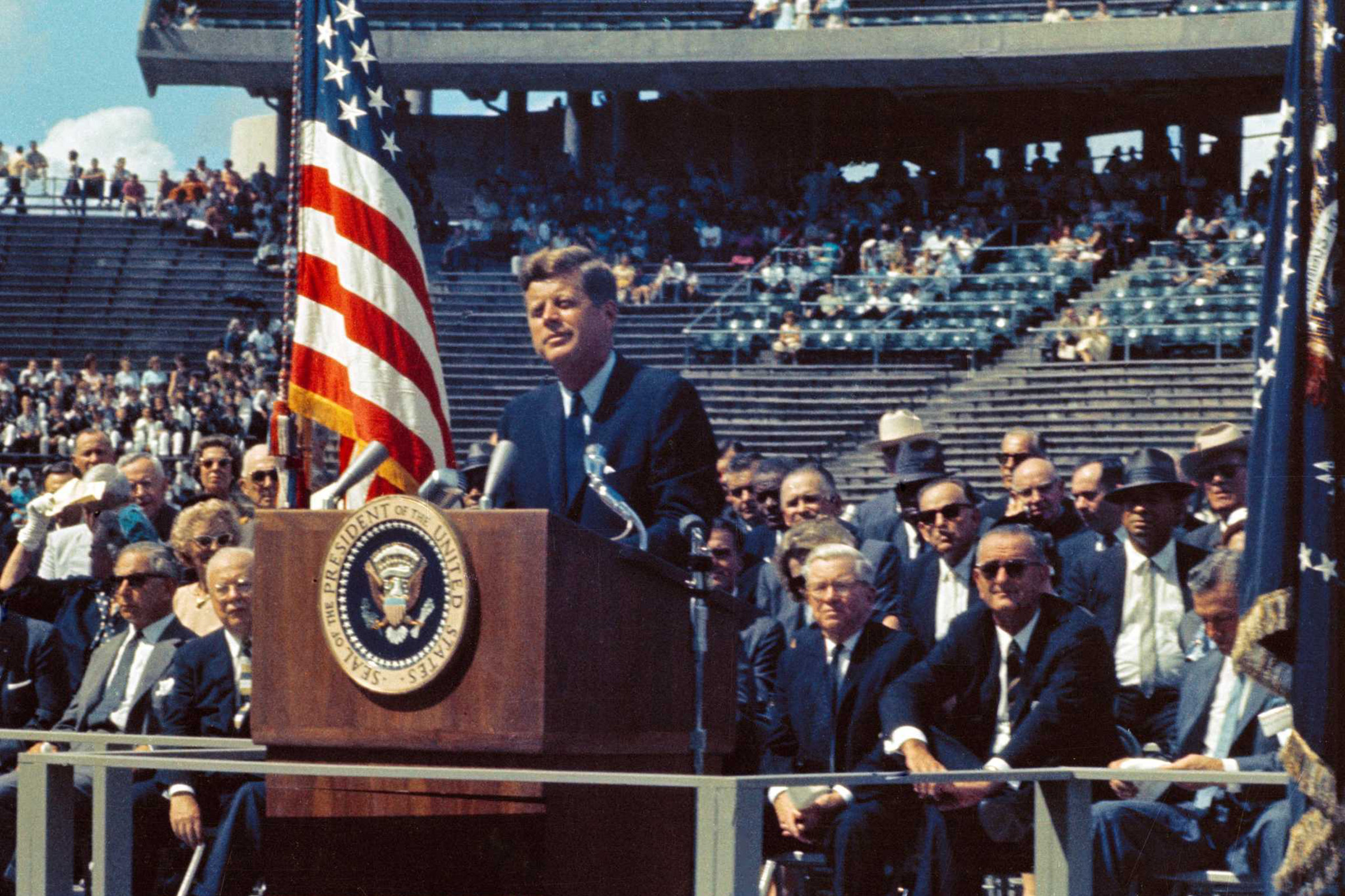 U.S. President John F Kennedy at Rice University, re-aserting his ambitious 1961 decree, to land a man on the Moon by the end of the decade.