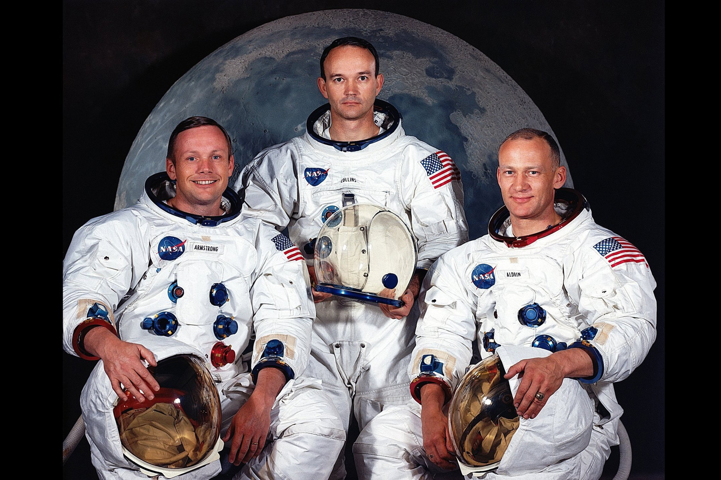 The Apollo 11 crew; Neil Armstrong (l), Michael Collins (c) and Edwin 'Buzz' Aldrin (r).