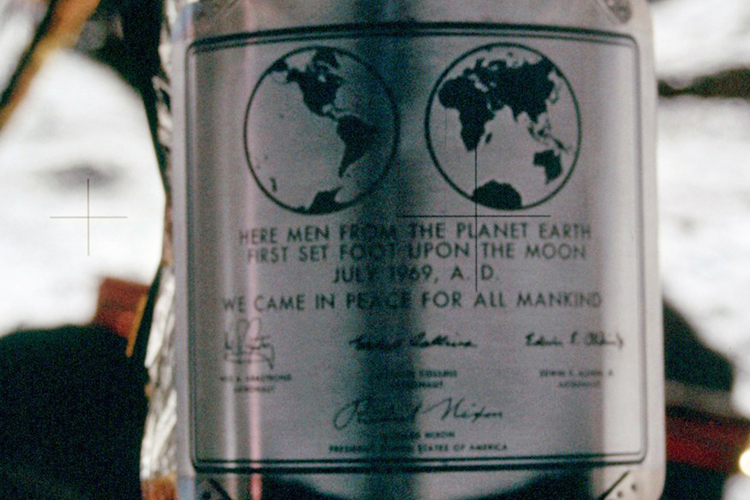 """Here men from the planet Earth first set foot upon the Moon - July 1969,  A.D . We came in peace for all mankind."""