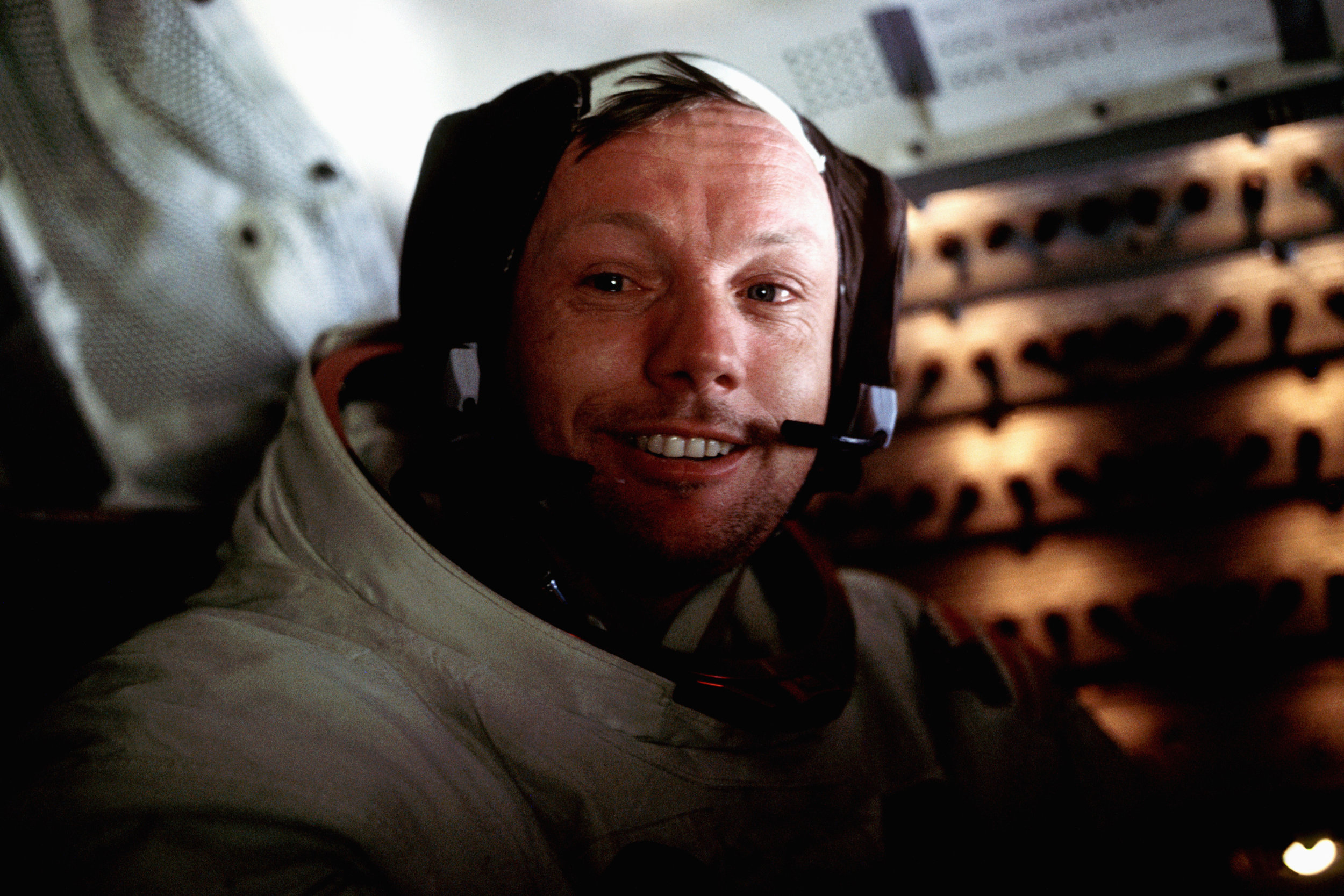 A very relaxed Neil Armstrong. In the week preceding the fiftieth anniversary of the Apollo 11 landing, a rare image of Armstrong on the Moon's surface has been created from a composite of three images taken from the Lunar Module.