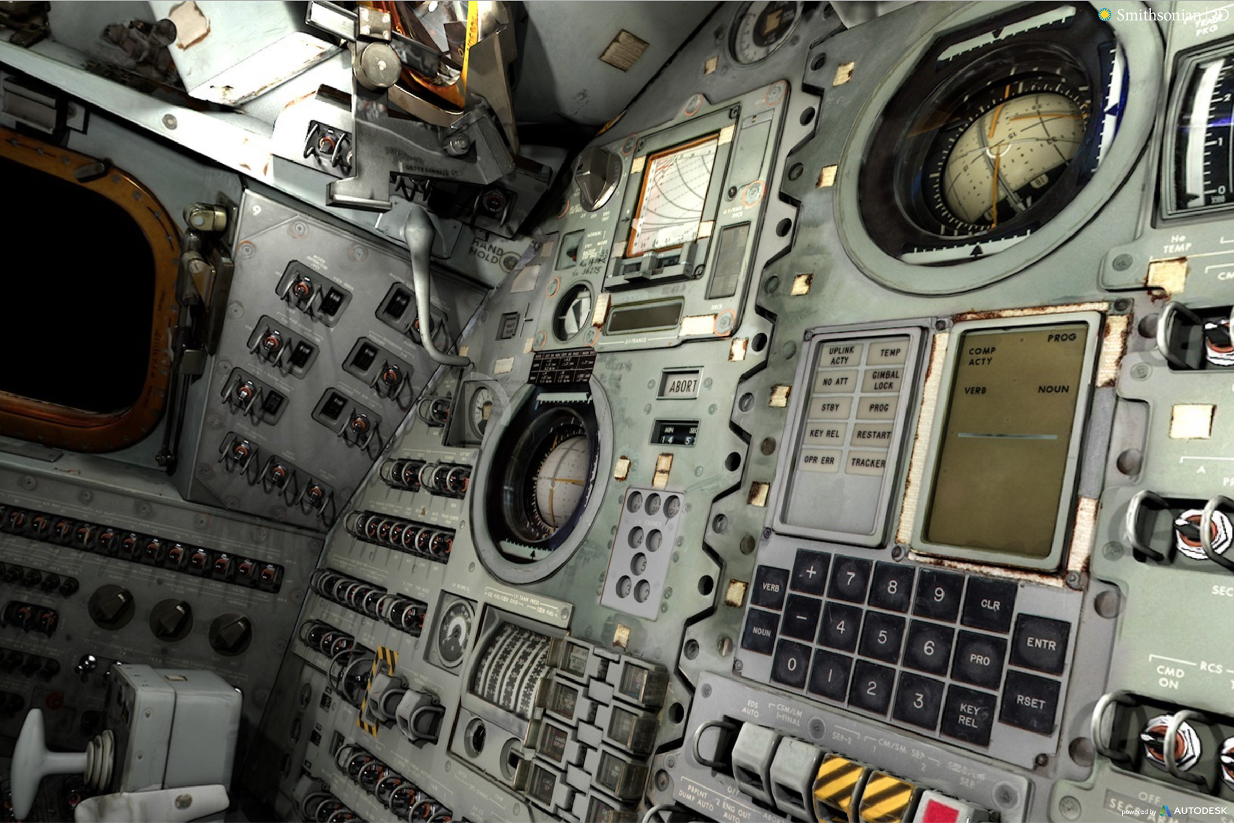 A 3D rendering inside ' Columbia ', the Apollo 11 Command Module. Click the link to see the virtual reality model.