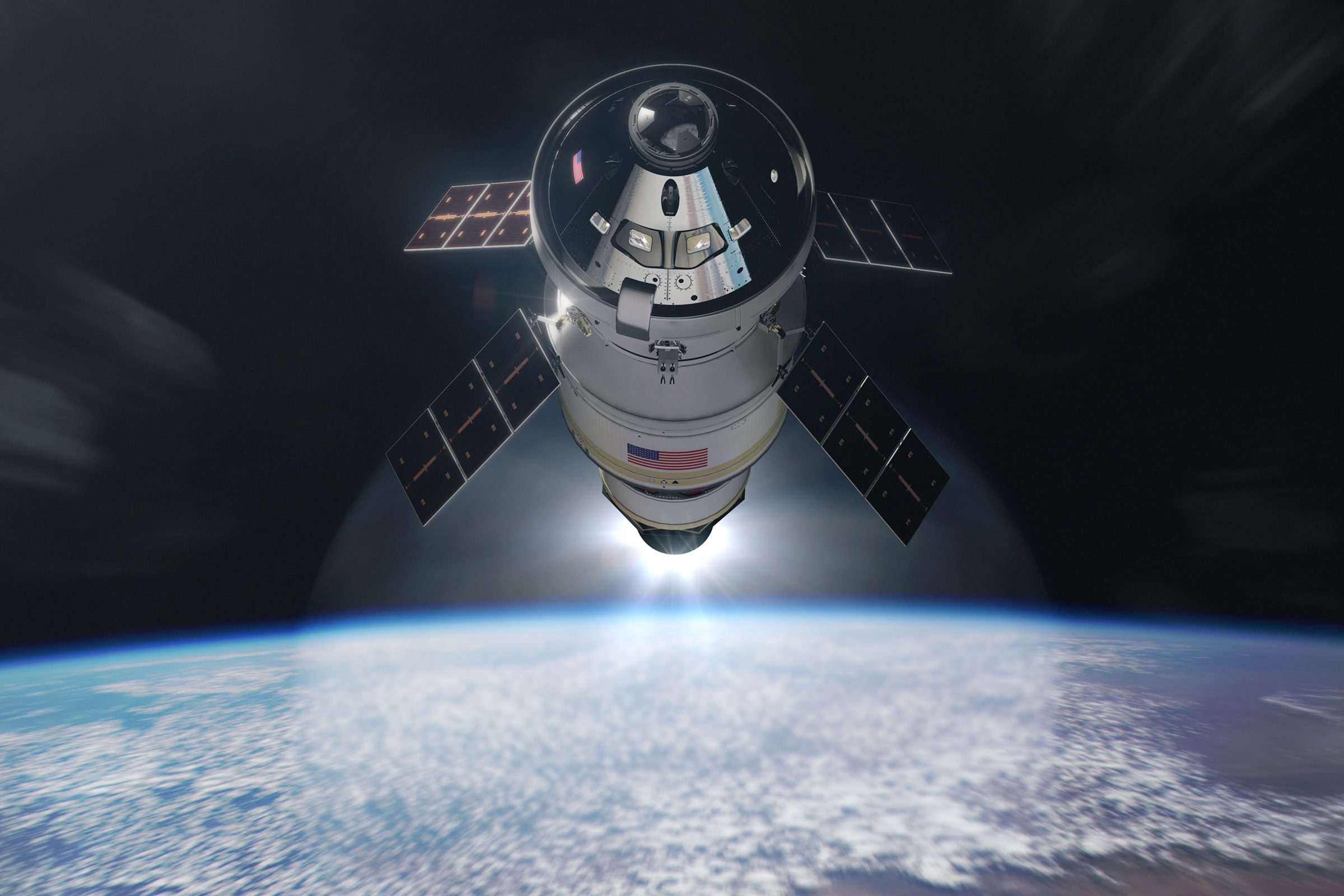 Computer generated image of the Orion MPCV, leaving Earth orbit.