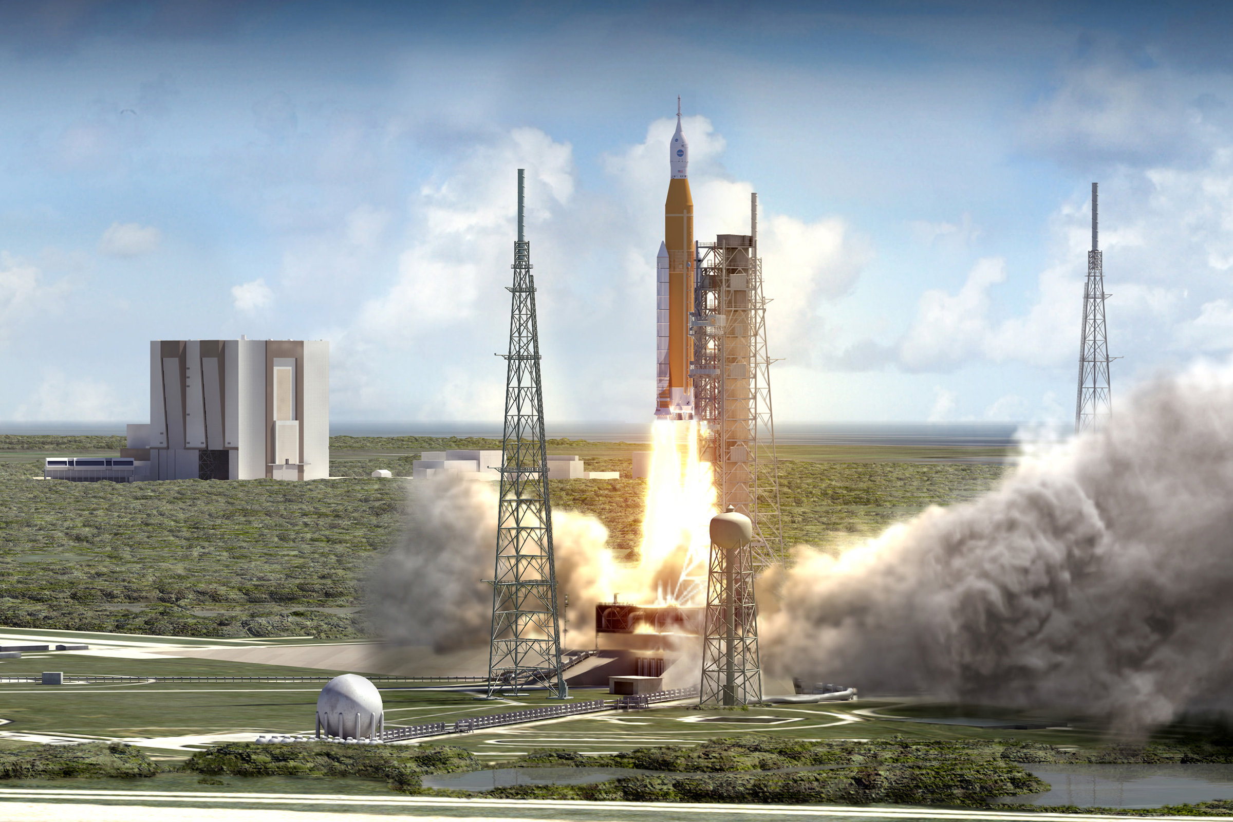 A computer generated image of the Space Launch System (SLS) carrying the Orion Multipurpose Crew Vehicle (MPCV).