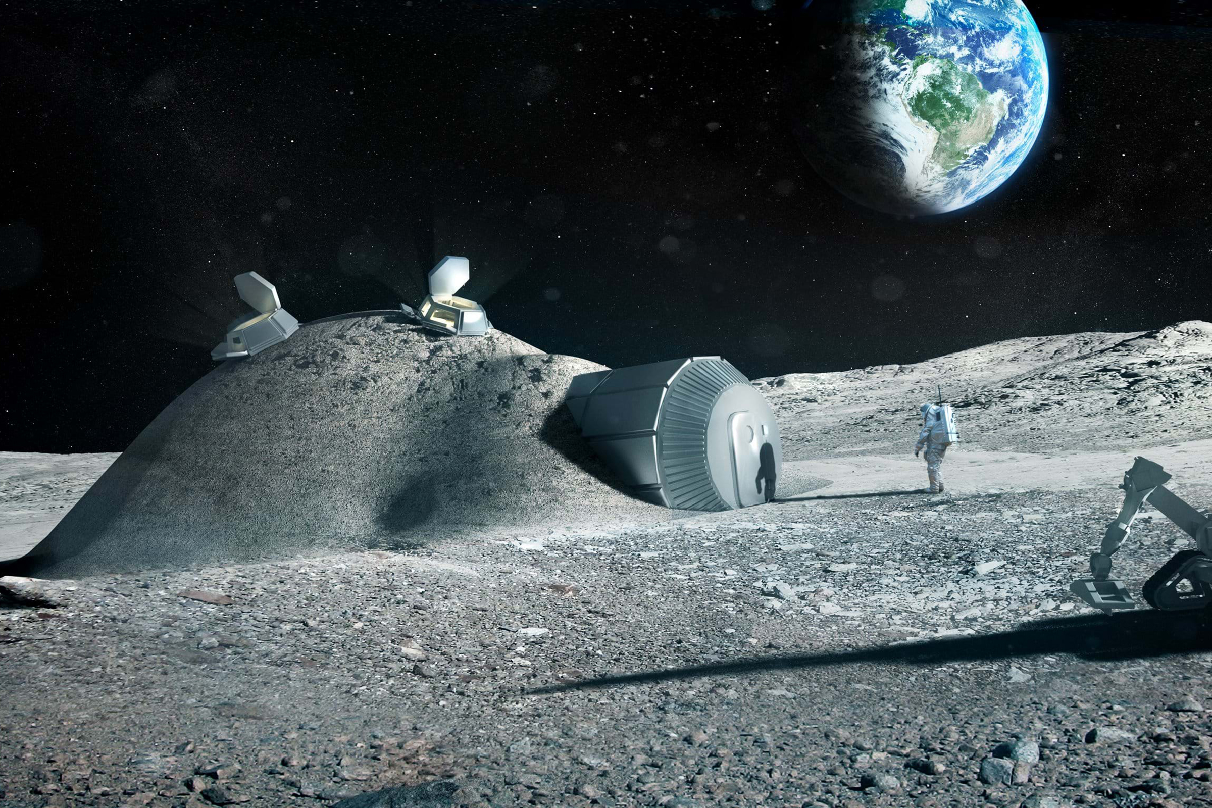 Computer generated image of the Lunar Habitation concept - a collaboration between Foster + Partners and the European Space Agency.