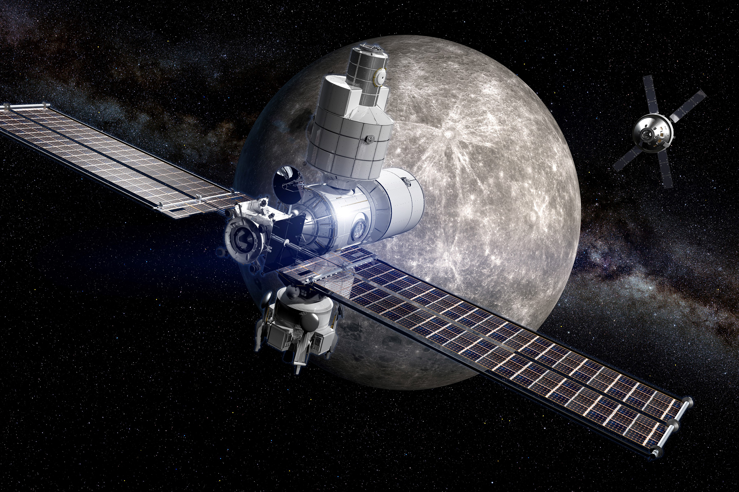 A computer generated image of the Lunar Orbital Platform - 'Gateway'.