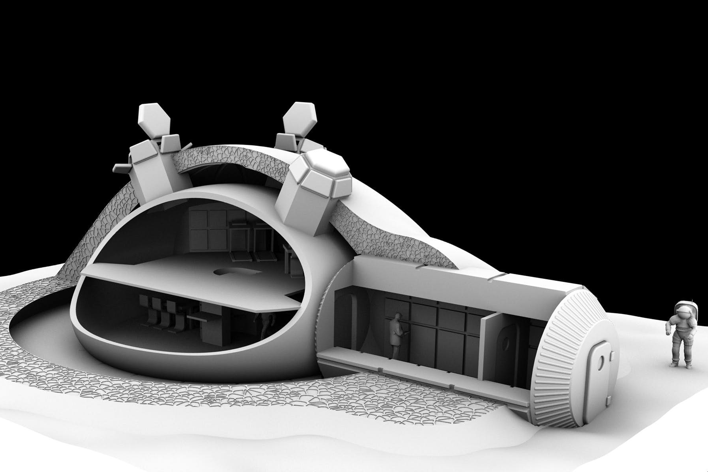 The Lunar Habitation concept would be based on 3D printing techniques, where regolith (rock and dust) from the lunar surface is heated and laid by drones in patterns, to form the required shapes.
