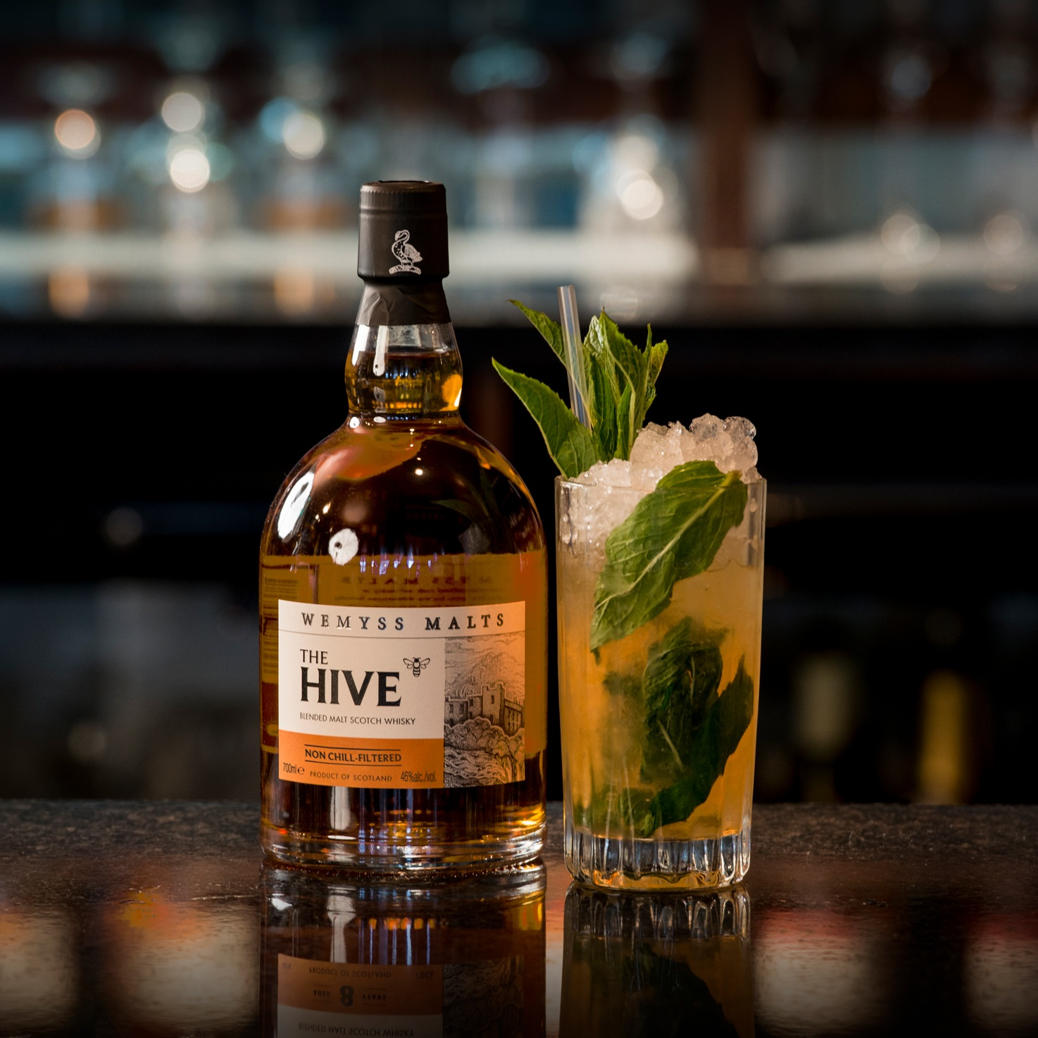 Hive Five Mojito - Ingredients:50ml Wemyss Hive Whisky20ml fresh lime juice12 – 16 fresh mint leaves12ml orange blossom honeyDash of ginger aleMethod: Build first four ingredients into glass and muddle mint to extract aroma and flavour (essential oils). Make sure honey has combined and softened. Add crushed ice and mix gently careful not to over-dilute. Charge and top with ginger ale.Glass: Hi BallGarnish: Large sprig of fresh mintAdditionally we recommend The Hive as a Tailor-made Old Fashioned
