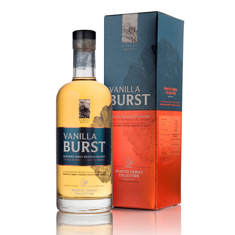 Vanilla Burst - Wemyss malts family collection - vanilla burst is a blend of two single malt whiskies from the speyside region that have been matured in 15 1st fill Ex-bourbon barrels.