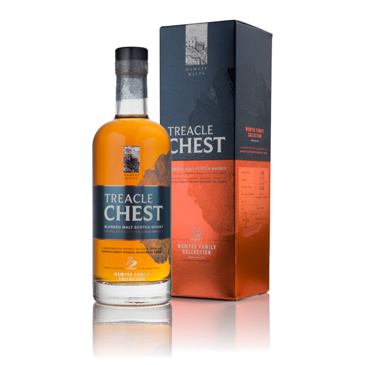 Treacle ChesT - Wemyss malts family collection - treacle chest is a blend of two single malt whiskies from the highland region that have been matured in 14 1st fill Ex-sherry hogshead casks.