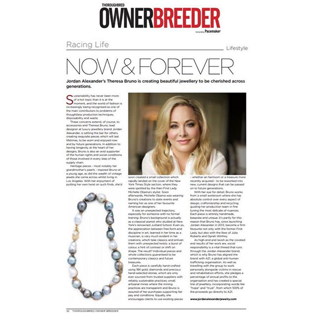 "#FEATURED// Have you seen our designer in the @ownerbreeder magazine for their September issue yet? A lovely spread on her sustainability efforts and creating jewelry to ""be cherished across generations"" . . . #sustainability #Thoroughbredownerbreeder #Finejewelry #luxurylifestyle #luxury #jewelry #diamonds #pearls #18kgold"