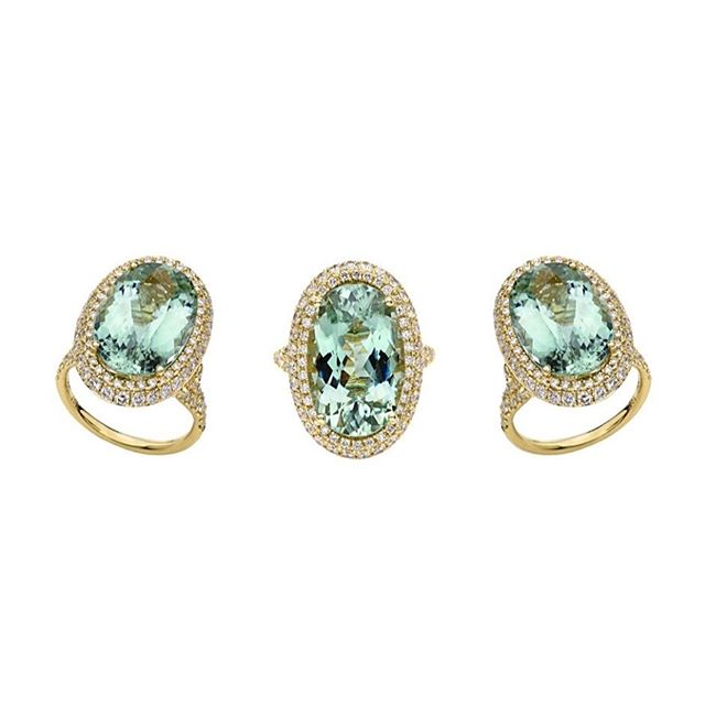 """A showstopper, make your friends #green """"aquamarine"""" with envy… ✨ ___________________ Pale Green Aquamarine faceted Oval ring set in our #18kgold signature motif side setting and Pave' Diamonds . . . #tourmaline #aquamarine #beryl #jorandalaexanderjewelry #diamonds #finejewelry #Houston #alabama #luxury #houstonluxury #luxe"""