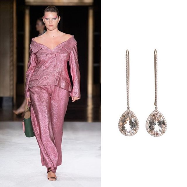 Majestic in Morganite... ______________________ Another gorgeous @csiriano mashup with our pretty, pale, pink morganite and pave' diamond long line earrings. . . . #NYFW #Houston #spring2020 #Siriano #jordanalexanderjewelry #majesticmorganite #houston #houstonevents