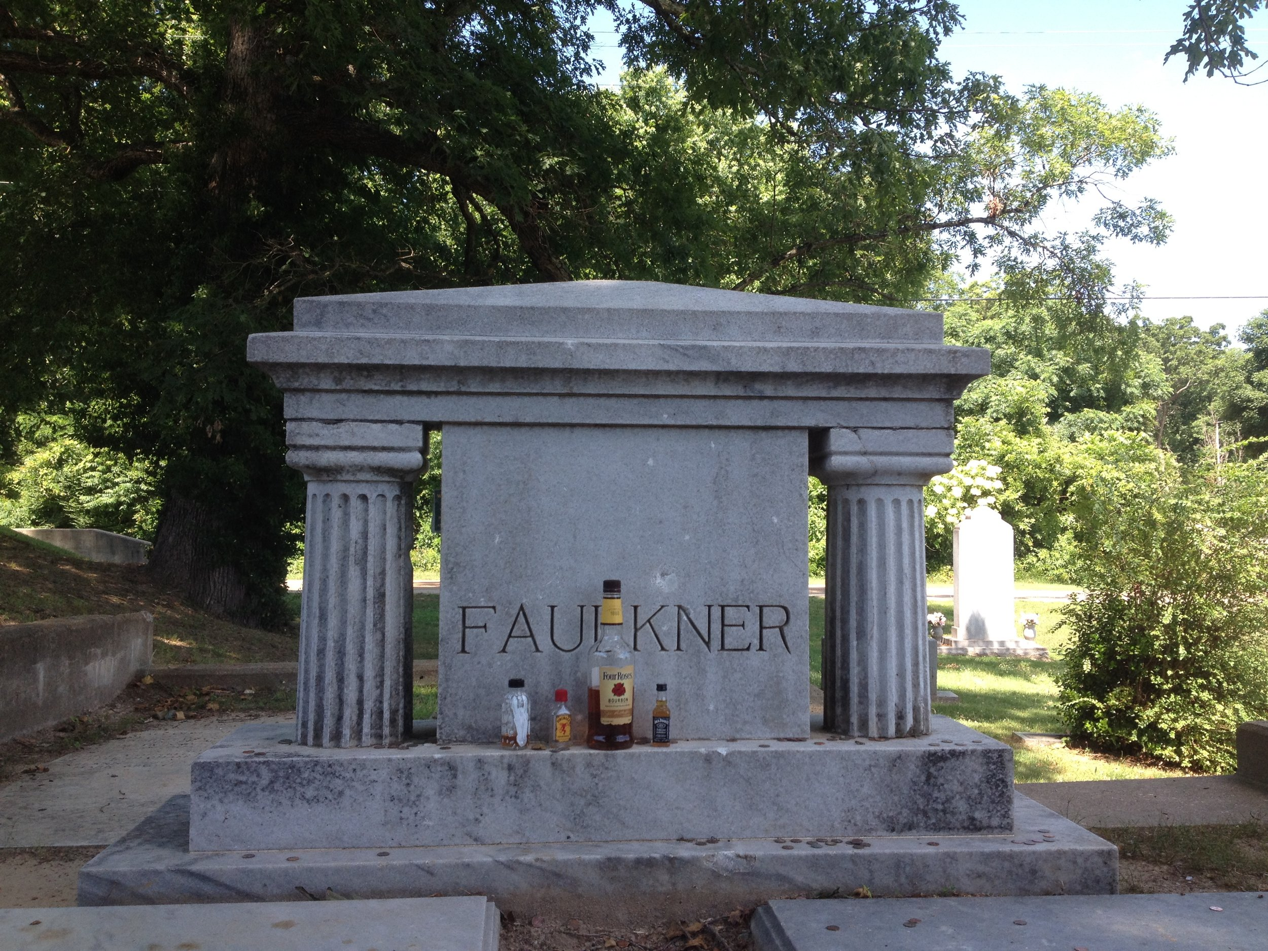 Faulkner's grave in Oxford, a pilgrimage spot for writers, artists and southern gothic fans.