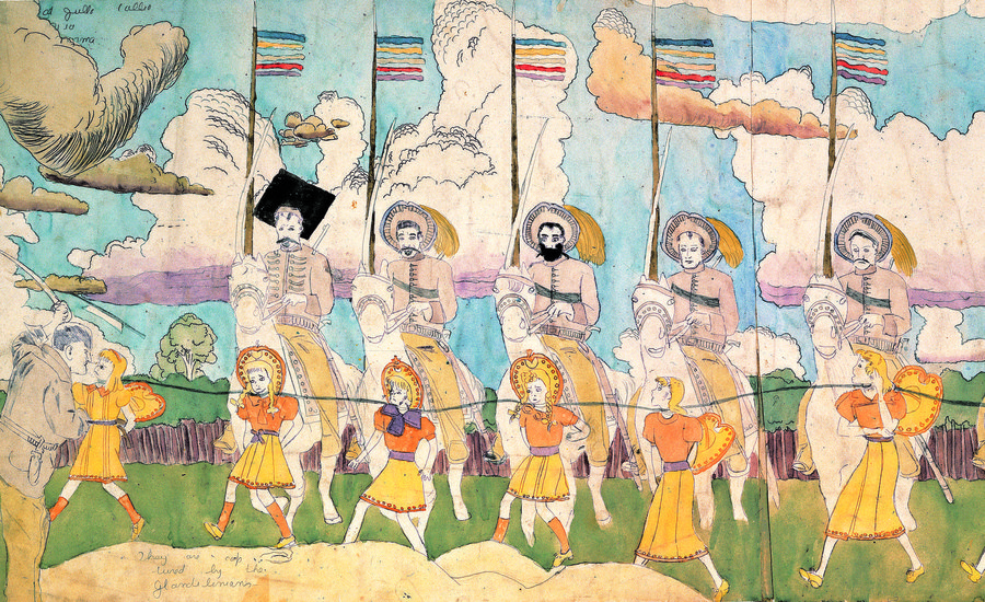 An illustration from outsider artist Henry Darger. Source:  https://www.artspace.com/magazine/art_101/book_report/the-mysterious-story-of-outsider-artist-henry-darger-the-vivian-girls-of-the-realms-of-the-55476