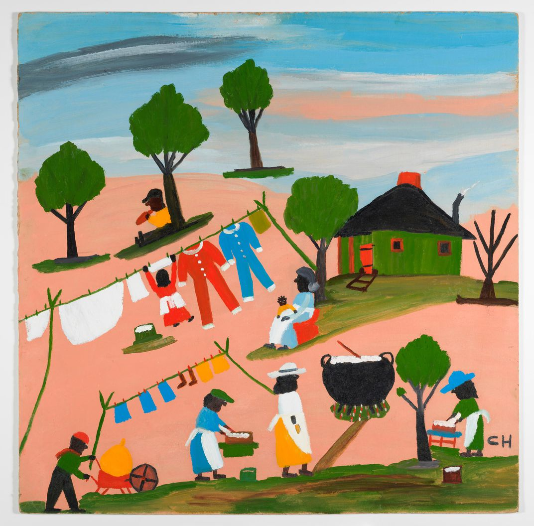 Washday by self-taught artist and Louisianian Clementine Hunter. Source:  https://www.smithsonianmag.com/smithsonian-institution/self-taught-artist-clementine-hunter-painted-bold-hues-southern-life-180970572/