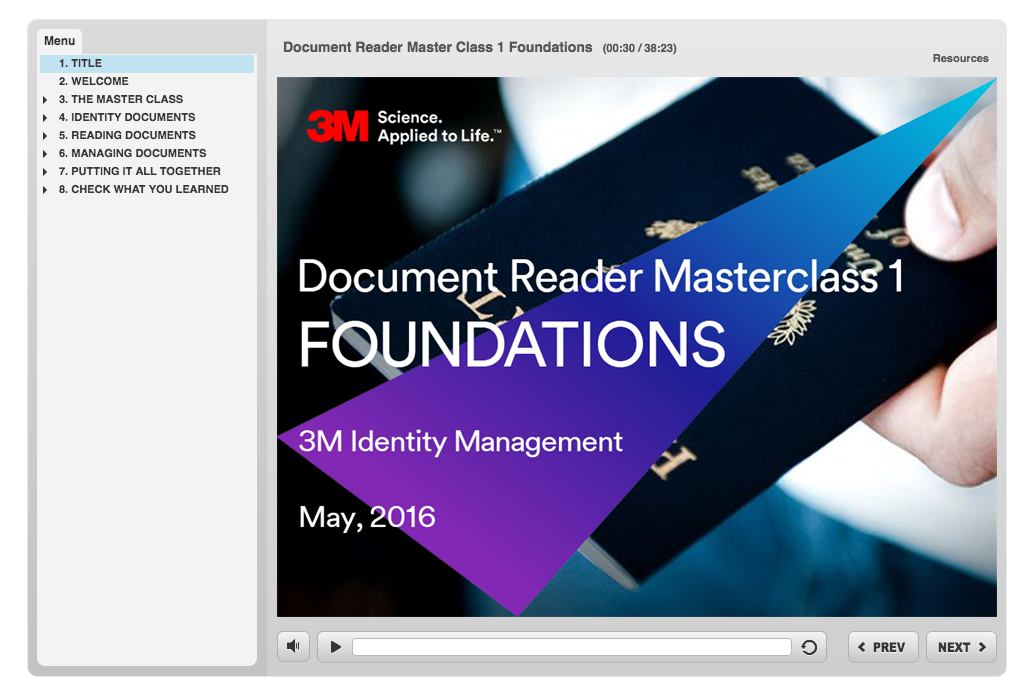 Client: 3M  A portion of a multi-part e-learning course used for 3M's global partners. Successful graduates of the course would be licensed to sell the product within their specific markets.