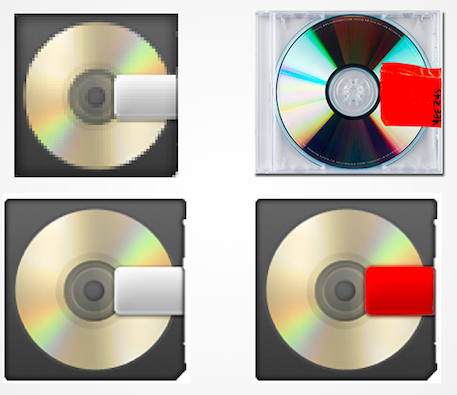 Kanye's 2013 release,  Yeezus , wasn't just a minimalist reference to the CD. It also looks forward, referencing the Apple emoji.