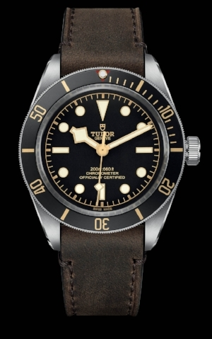 The Tudor Black Bay 58 with leather strap, which retails at $3,250.
