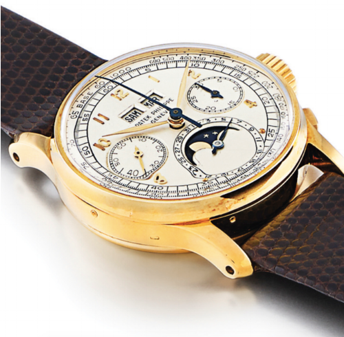 A Ref. 1518 Patek Phillip in yellow gold, estimated at $300,000–$500,000