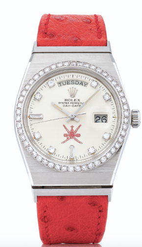 A Rolex Day-Date in Oysterquartz case, built at the request of the Shah of Iran.