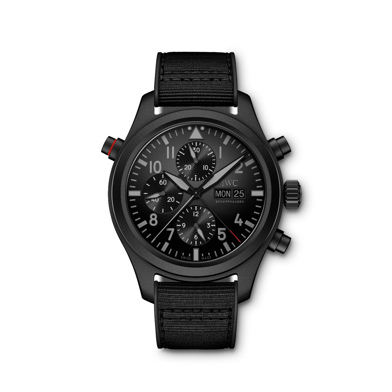 The IWC Double Chronograph Top Gun Ceratanium, with its matching black ceramic finish and black dial.