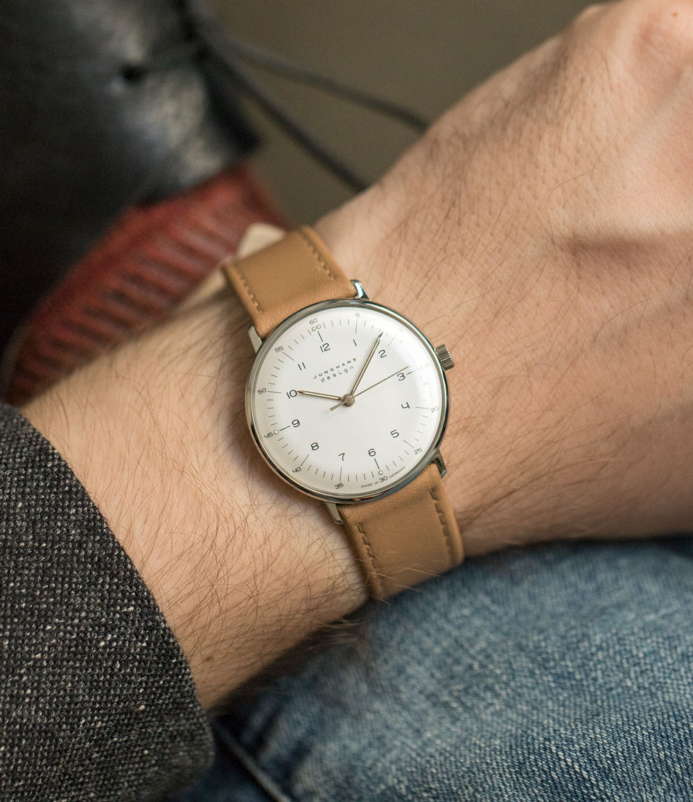 Junghans' Max Bill Hand Wind with black leather strap