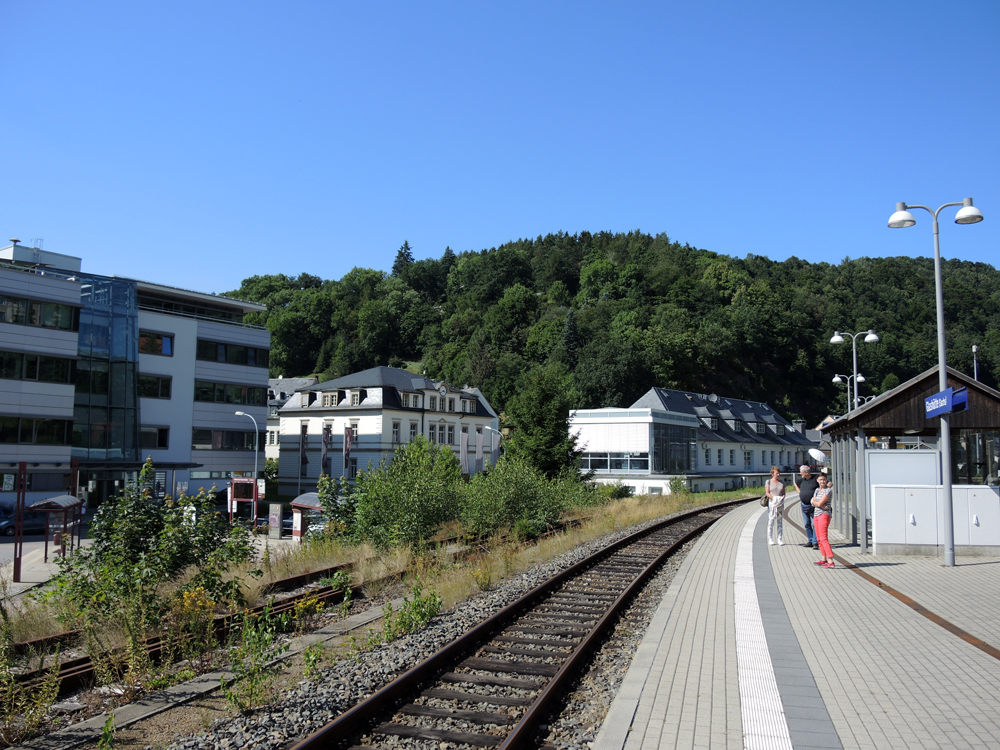 Glashütte from the train platform. From left: Glashütte Original, A Lange, and Nomos