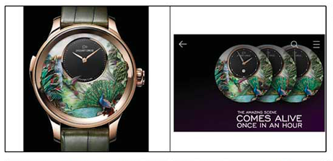 A watch from Swatch's Jaquet Droz and its Samsung lookalike.