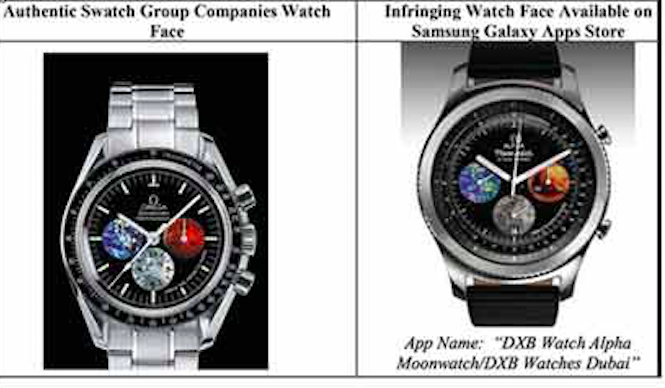 A watch from Swatch's Omega and its Samsung counterpart.