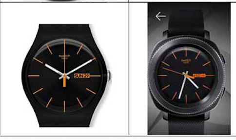 A Swatch watch next to its Samsung copier.