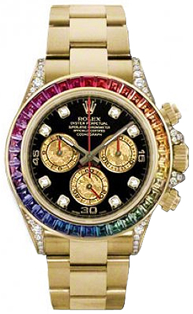 Mayer owns a number of rainbow Daytonas, including this Ref. 116598