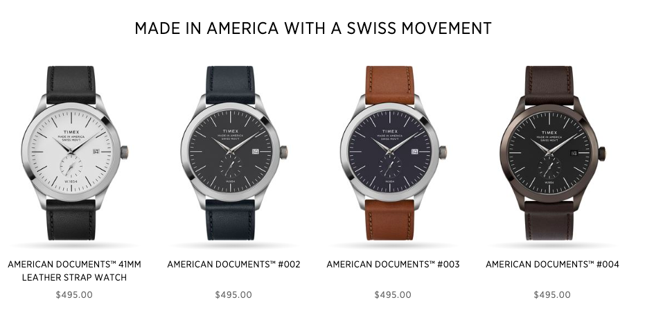 The Timex American Documents collection, straight from the website.