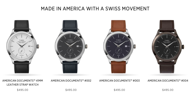 136865e66f The Timex American Documents collection, straight from the website.