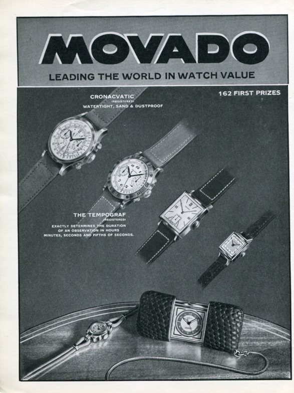 1939 Movado Advertisement, FB 90M labeled 'cronacvatic' (vintagepaperandsalvage.ecrater.com)