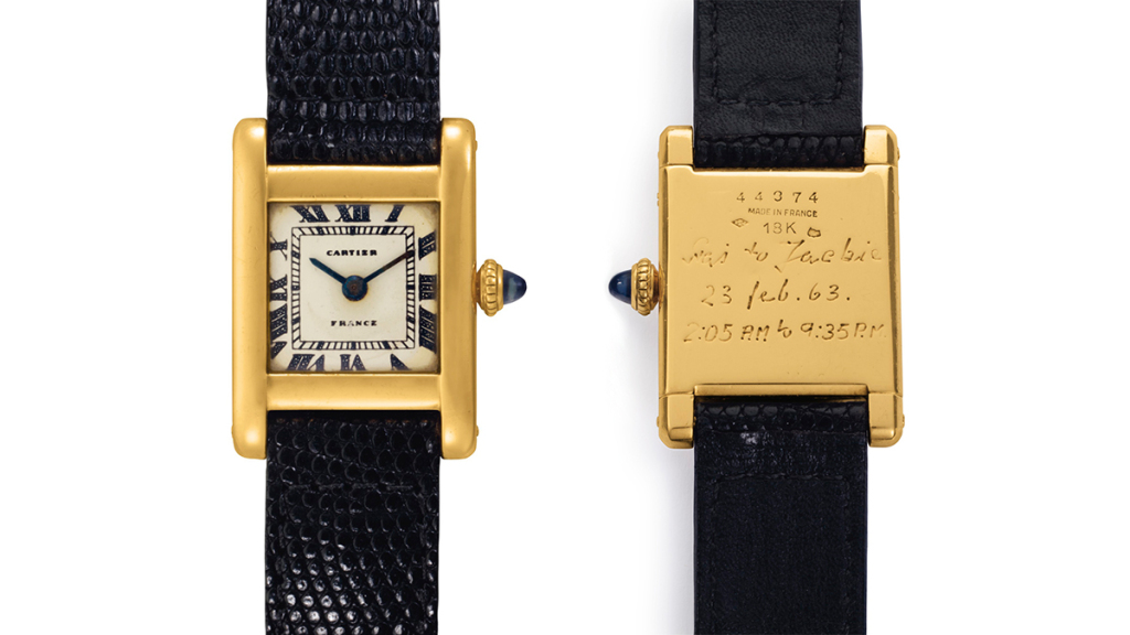 Jackie Kennedy's Cartier Tank, now owned by Kim Kardashian.
