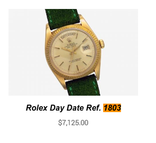 Don't overpay for a  Ref. 1803