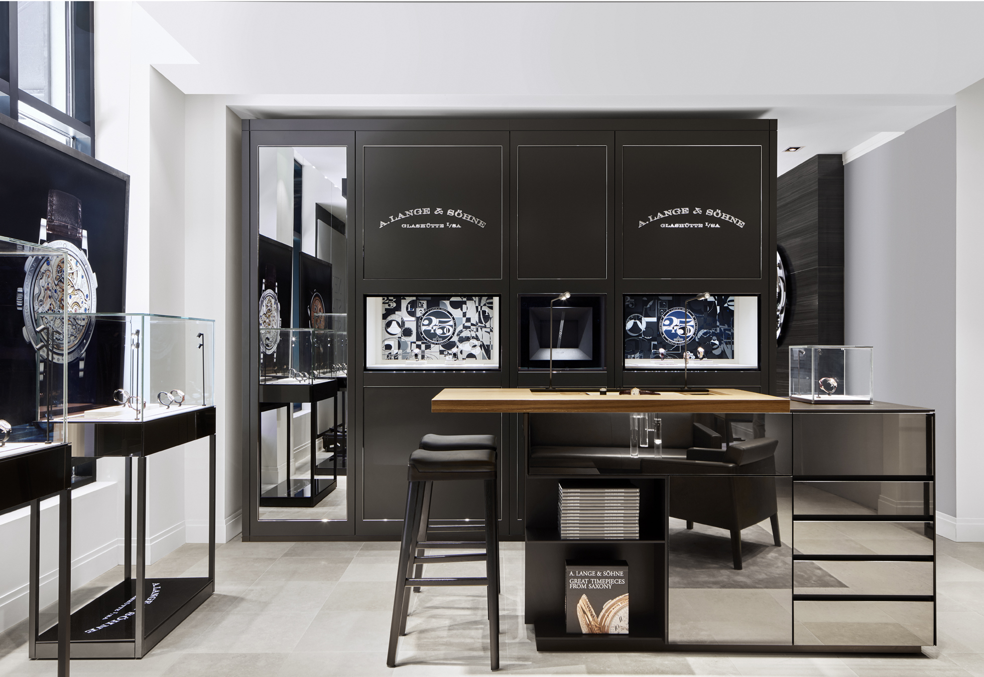 A. Lange's new Chicago boutique. Stone accents throughout the store allude to the Ore Mountains near A. Lange's Glashutte home.