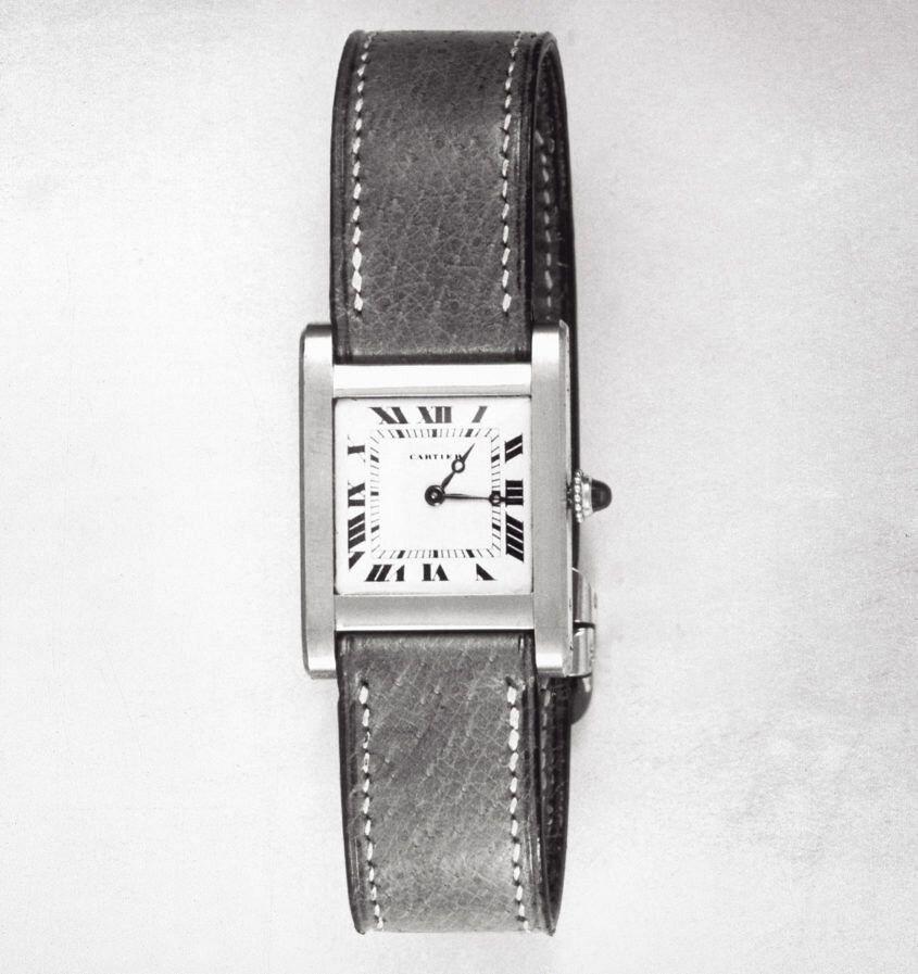 """An original Cartier Tank, comfortably an """"antique"""" by most standards."""