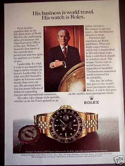 An ad from the 1980s that captures the transitional spirit of Rolex. It features William Seawell, a man who served and flew planes during World War II and went on to become the CEO of Pan Am. Rolex similarly made the transition from tool to the boardroom.