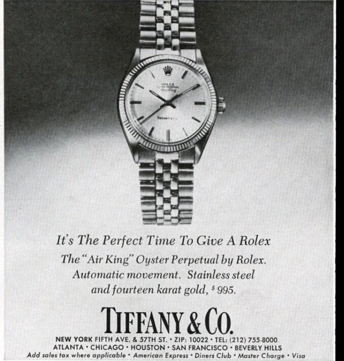 A Tiffany & Co. add featuring an Air-King Reference 5501 (okay, this article is about the 5500, but it's close enough).