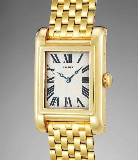 Cartier Tank Etanche, originally from Barbara Hutton's collection, on offer from Phillips.