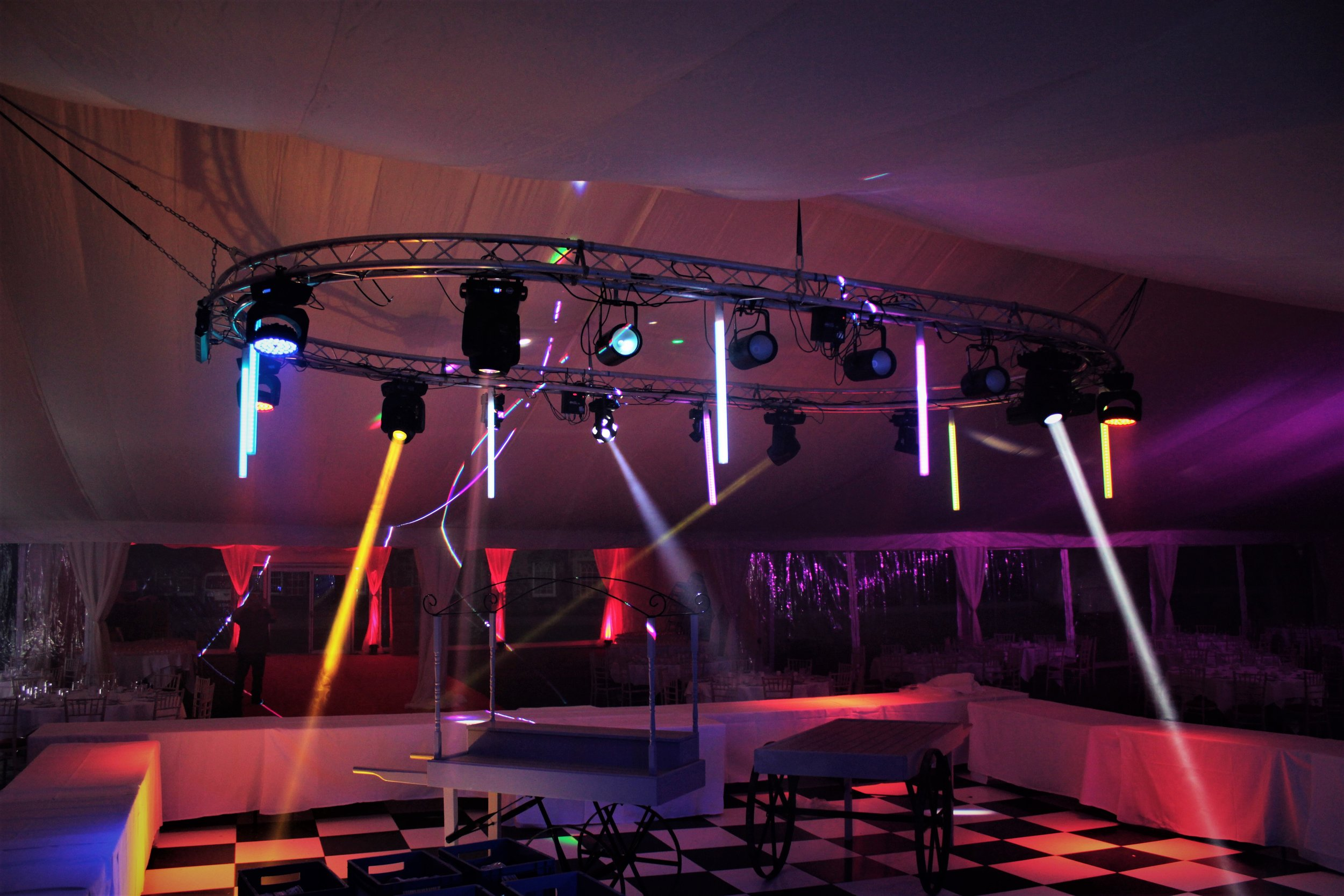 LIGHTING - We have a wide selection of lighting effects giving great depth to any occasion. From painting a castle in deep rich colour to uplighters that can give a room true depth, with hundreds of colour options and variations to match your events colour scheme.