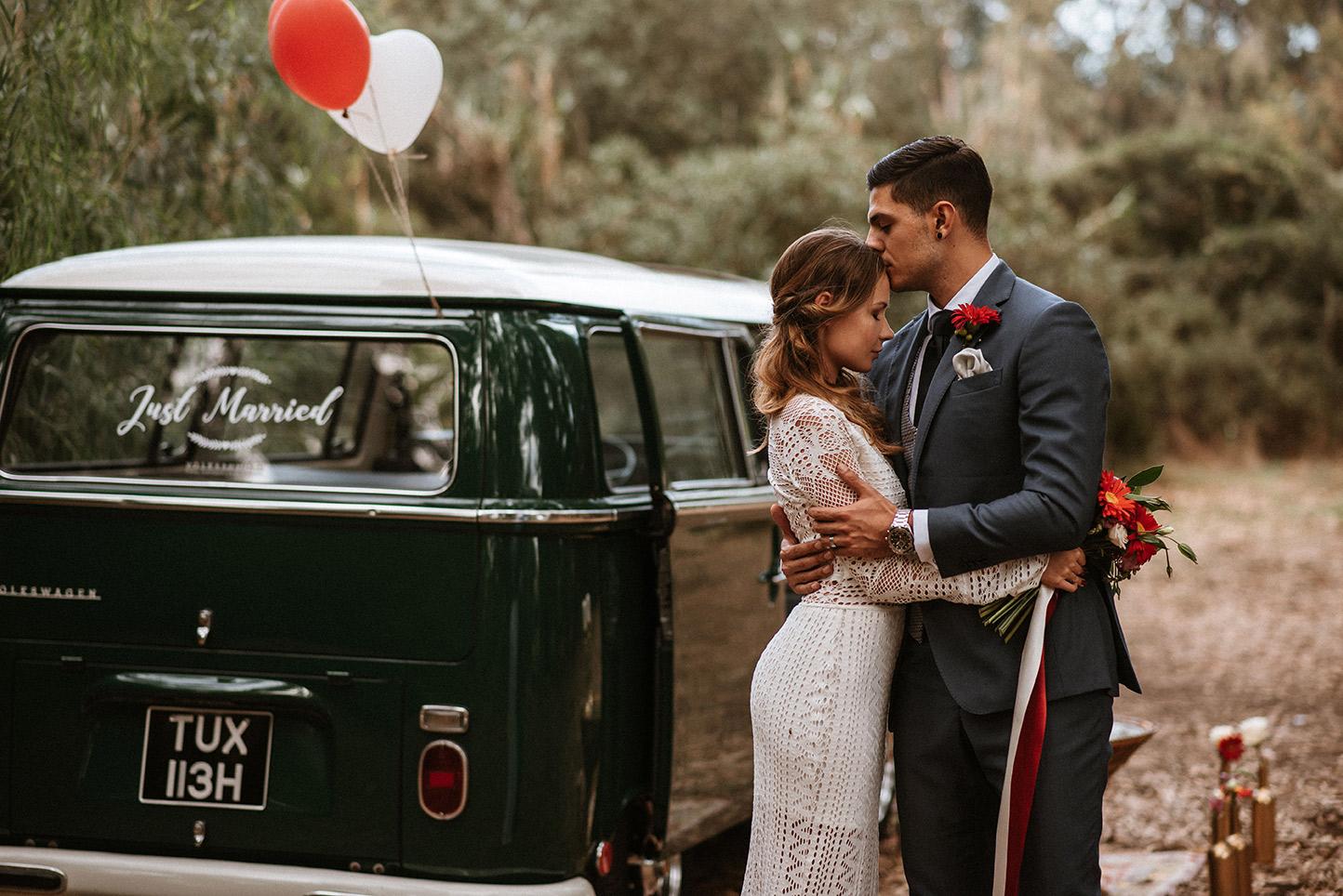Just married Volkswagen Kombi