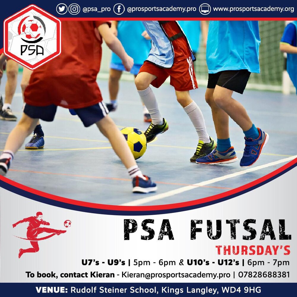 Futsal - PSA is very excited to announce that we will be opening our brand new FUTSAL Centre. Our new centre will be held in Kings Langley and will enable children of all abilities to attend and develop as football players.Why play FUTSAL?Futsal by its nature places a large emphasis on technical ability in situations of high pressure, and proves an excellent tool to develop techniques that can be translated back into the game of football. Players are constantly placed in situations where they must play whilst under pressure or in confined spaces; helping to develop a players technique, movement, tactical awareness and fitness.